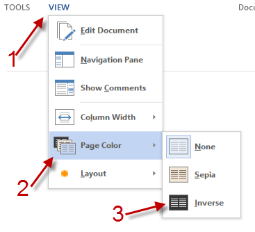 By Default The Document Will Be Displayed On A White Background To Change Page Color Inverse Click View