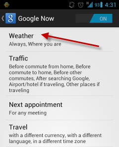 how to change google notification fahrenheit to celsius