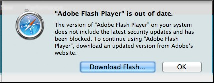 adobe flash player is out of date message