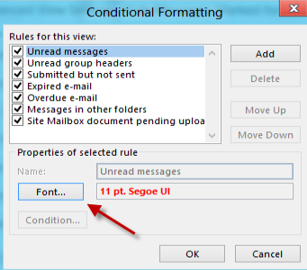 Outlook: Change the Font and Color of Unread Emails