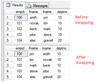 Swap values between two columns