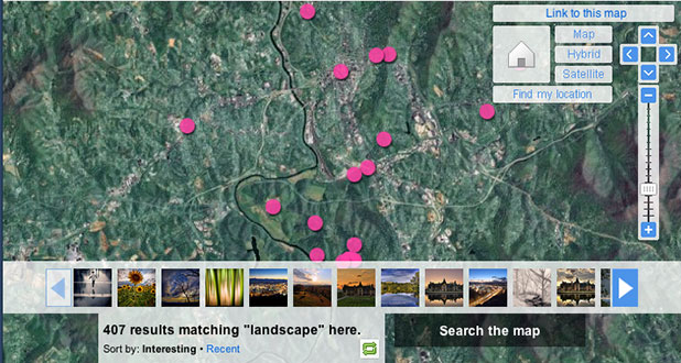 flickr map searching for landscapes
