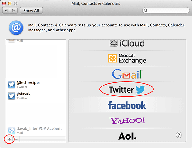 adding multiple twitter accounts through system preferences