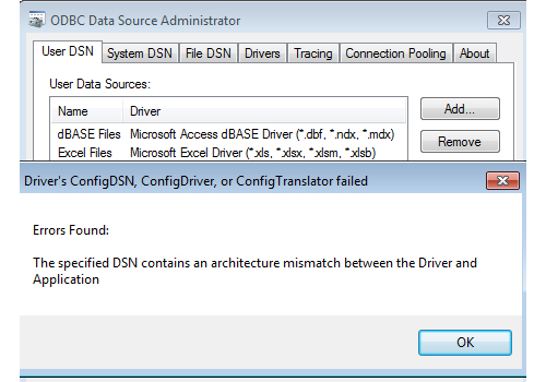 ODBC Error - The specified DSN contains an architecture mismatch