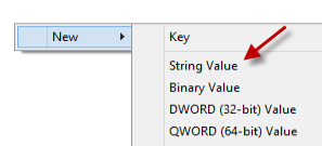 regedit new string value