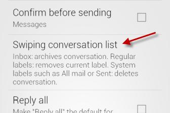 Swiping conversation list