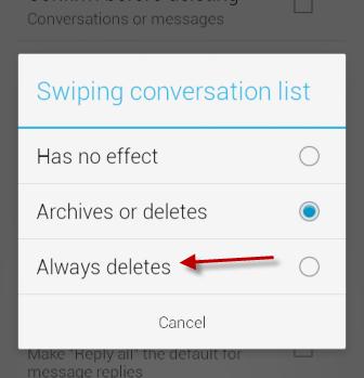 Swiping conversation list option