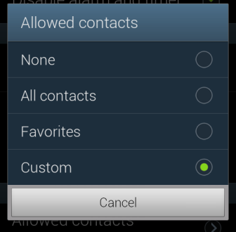 allowed contacts option