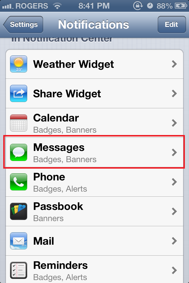 how to change notification bar iphone
