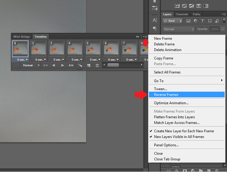 Photoshop create a f file 8w that you have your photos in the right order you may also want to change the duration of each frame to change all frames at once select all of the negle Image collections