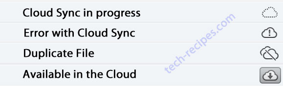examples of the various cloud icons in itunes 11