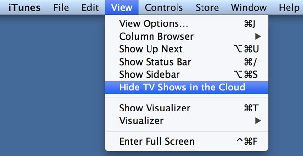 Selecting Hide TV Shows in the Cloud from the View menu