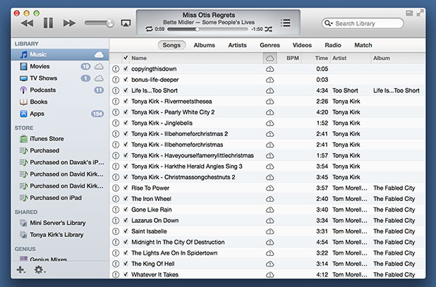 example of itunes 11 with the left sidebar enabled