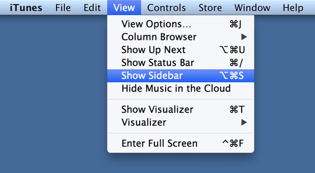 select Show or Hide Sidebar from the View menu