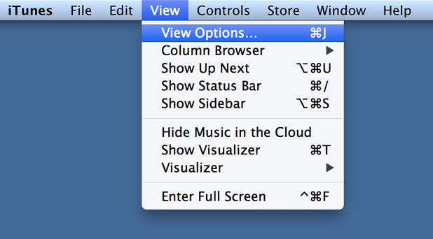 from the View menu select View Options