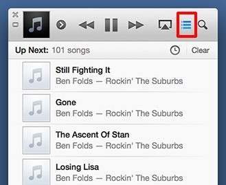 display the up next feature in itunes 11