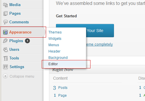 Wordpress Appearance Editor menu