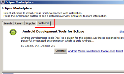 Eclipse Marketplace installed plugins tab