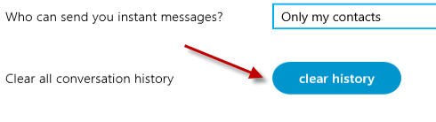 clear skype history