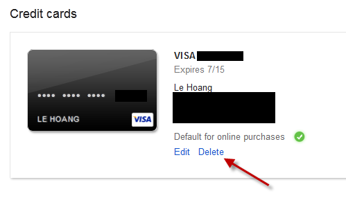 delete credit card google wallet