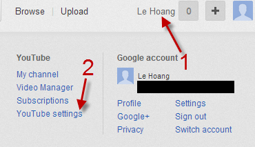 access youtube setting page