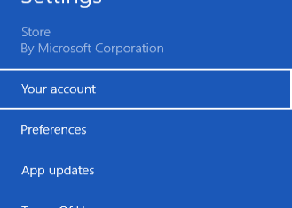 windows store account option