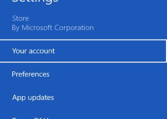 windows store account option