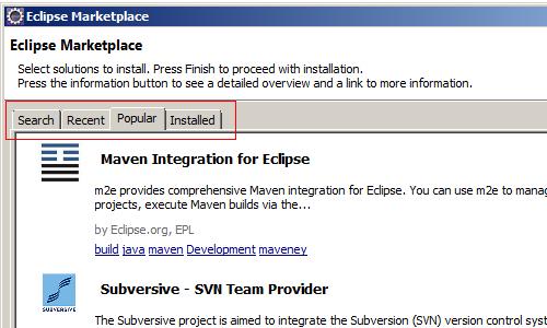 Eclipse Marketplace Tabbed navigation