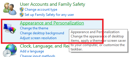 Now appearance and personalization is being selected from the list of available options