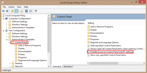 Windows 8: Prevent Access to the Control Panel with Group