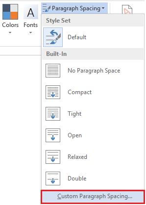 change default spacing in word