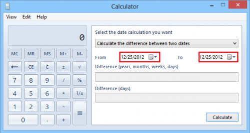 Windows 8: Use Calculator App to Perform Date Calculations