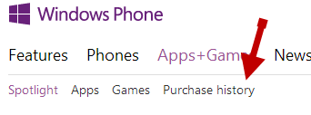 windows phone purchase history