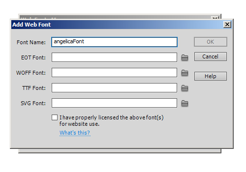 Dreamweaver CS6 Font Name