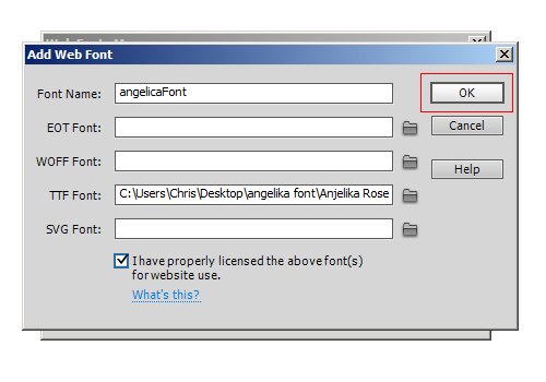 Select font file location web fonts
