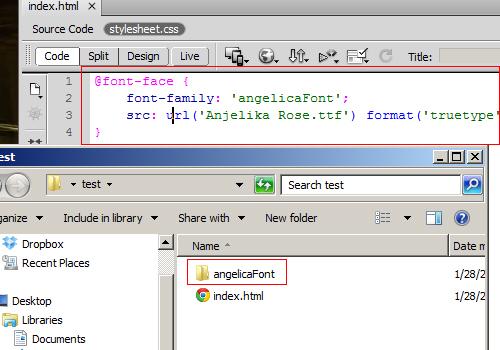 Dreamweaver CS6 web font automation