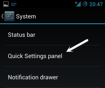 android quick panel settings