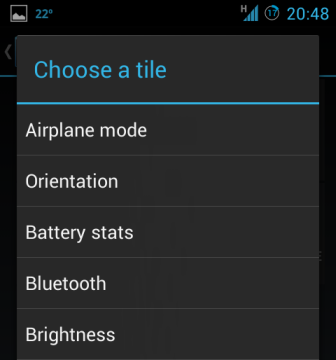 choose a tile android quick settings panel