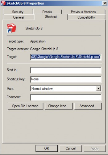 Windows 7 shortcut properties