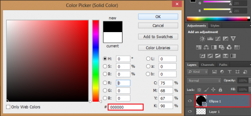 Double-click the elipse, and change the color to black