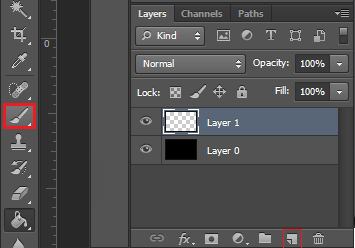 create new layer, and select the brush