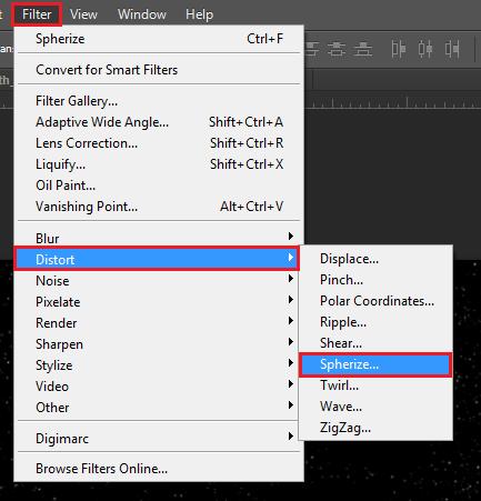 go: filter > distort > spherize...