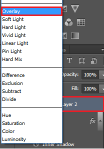 Select overlay for the blend mode