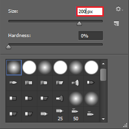 select a 200px soft brush