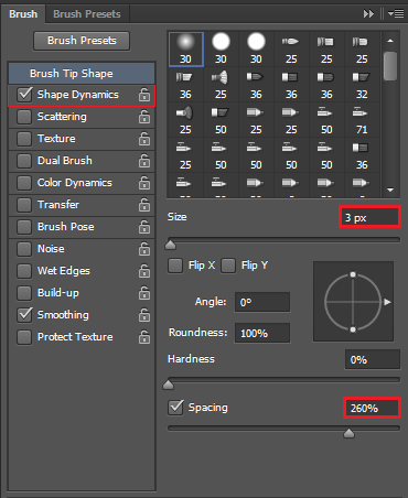 Shape dynamics, set size to 3px and spacing to 260%