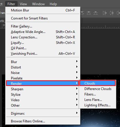 go: Filter > Render > Clouds