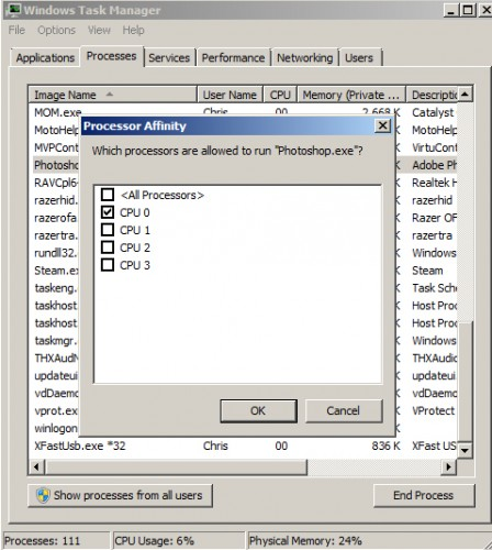 Windows 7 task manager set affinity cpu 0