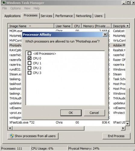 Windows 7 task manager set affinity cpu 0