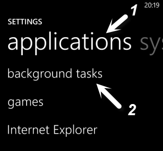 windows phone 8 applications settings