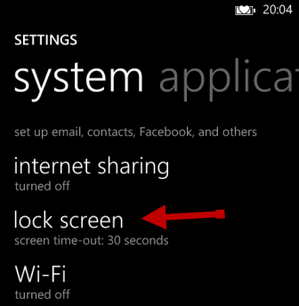 windows phone 8 lock screen settings